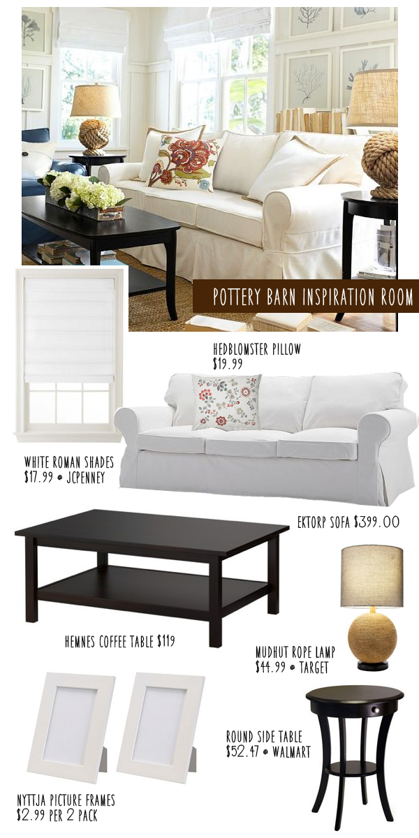 Pottery Barn Living Room Knockoff On A Budget Money Saving Sisters - Pottery barn white side table