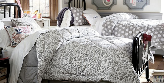 Pottery Barn Dorm Budget Makeover Polka Dot Bedding