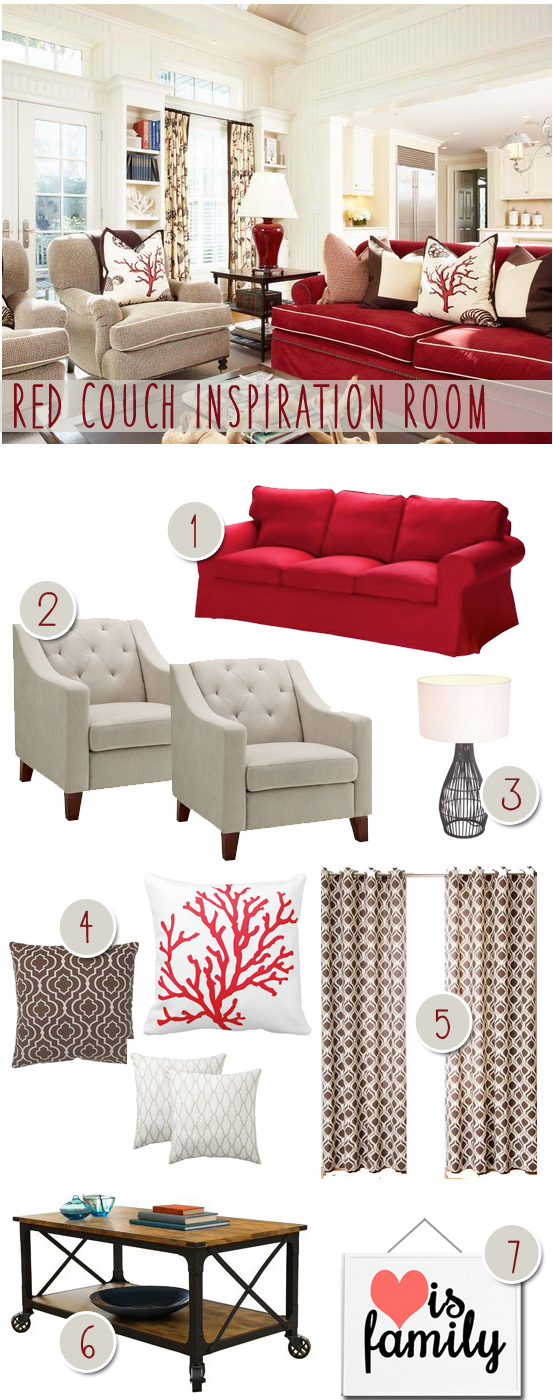 Red Couch Inspiration Room
