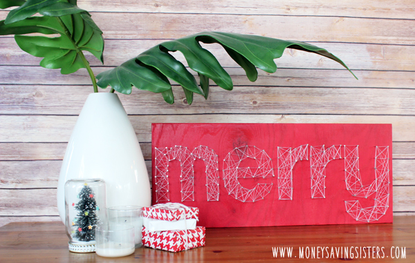 "Christmas DIY Nail String Art ""Merry"" Sign"