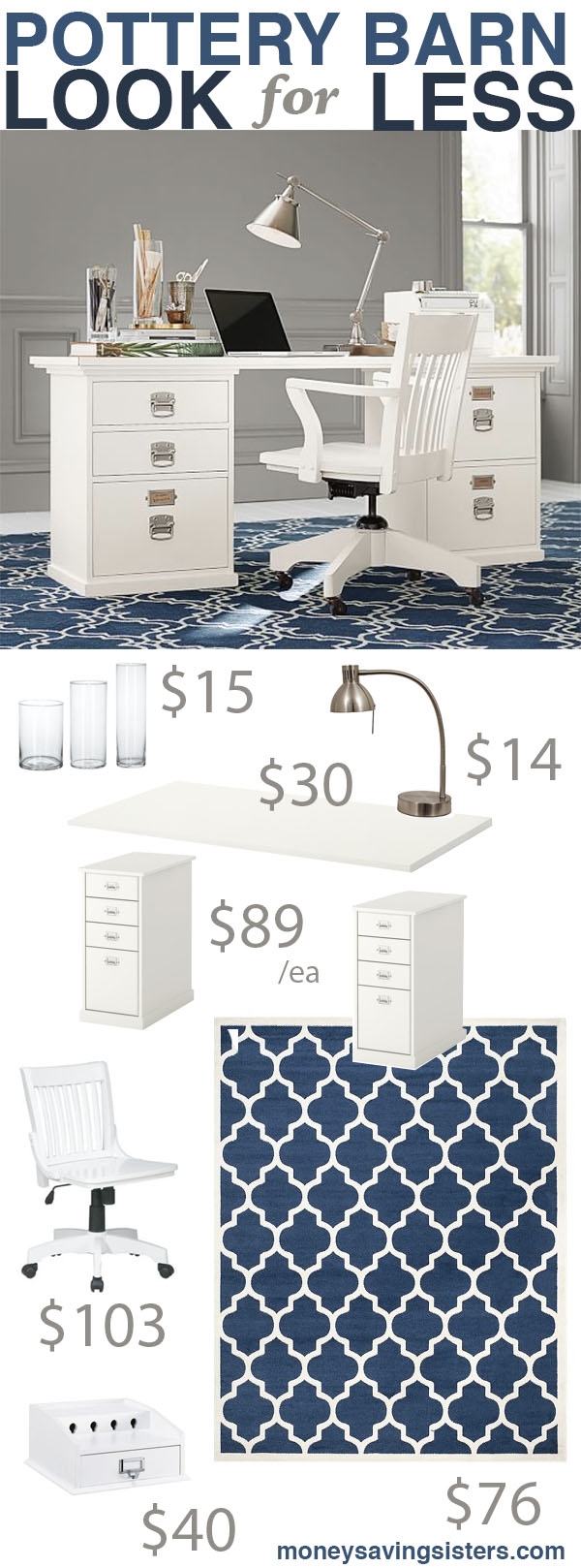 Pottery barn bedford rectangular office desk knockoff money saving sisters - Pottery barn office desk ...