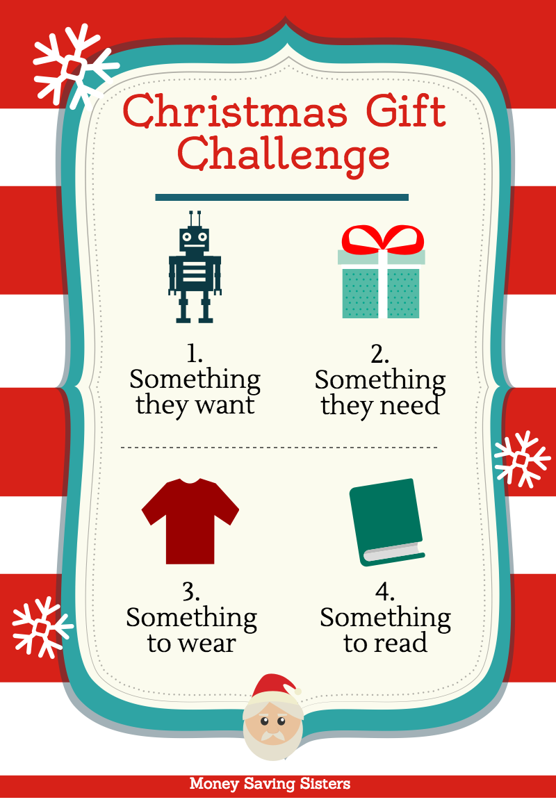 4 gift christmas challenge want need wear read money saving christmas gift pin this on pinterest christmases in my house are sciox Image collections
