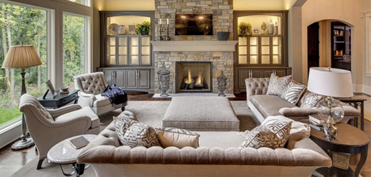 Elegant Great Room on a Budget - Tufted Sofas & Greige Furniture ...
