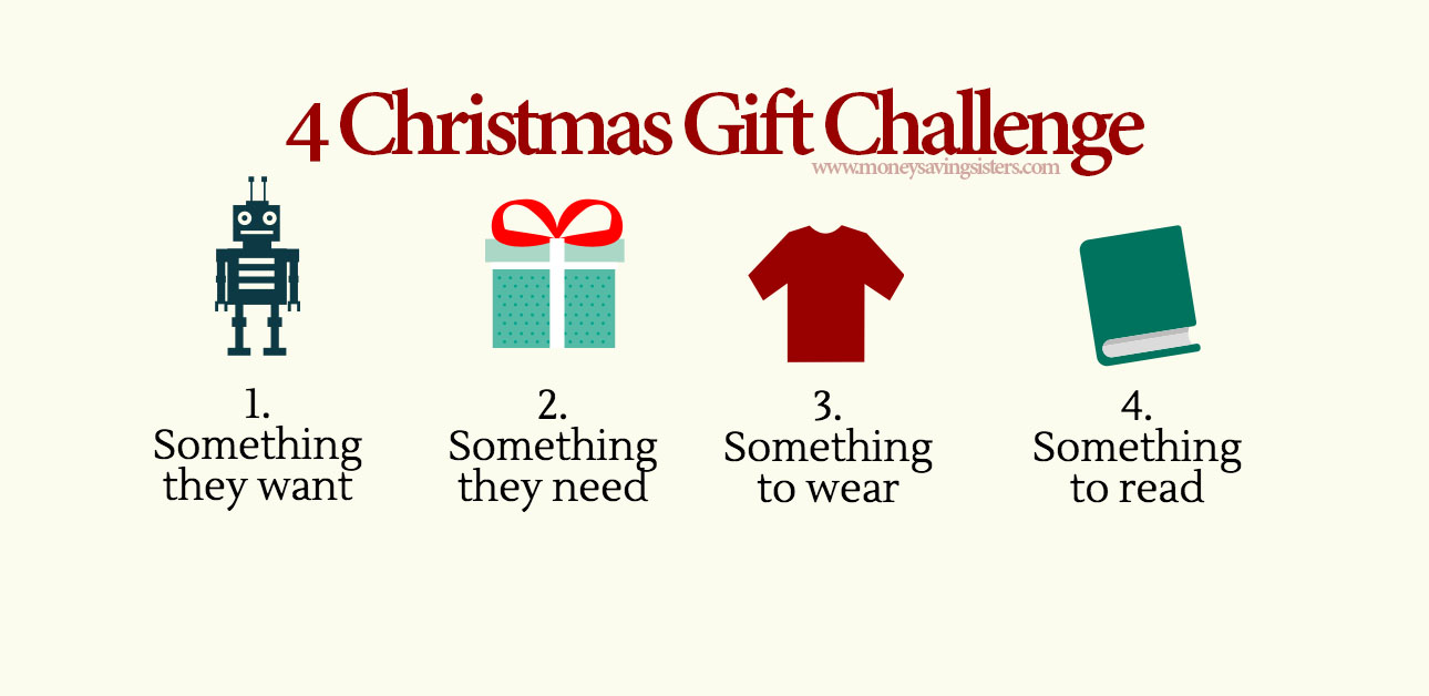 4 gift christmas challenge want need wear read money saving sisters